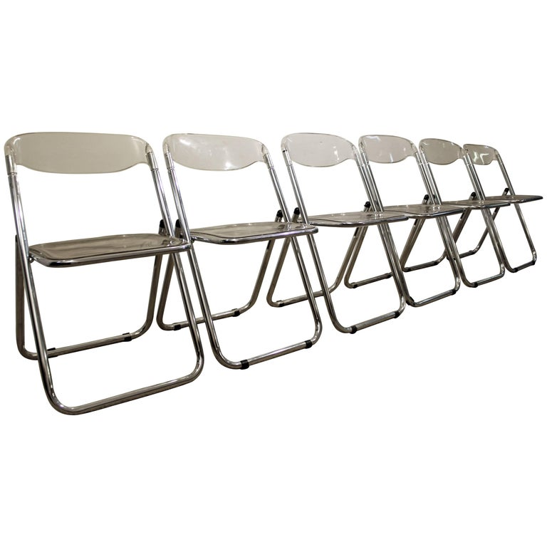 Set of Six Midcentury Italian Modern Lucite Chrome Folding Chairs
