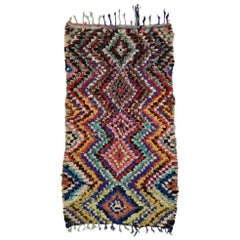 Vintage Berber Moroccan Boucherouite Rug with Tribal Style