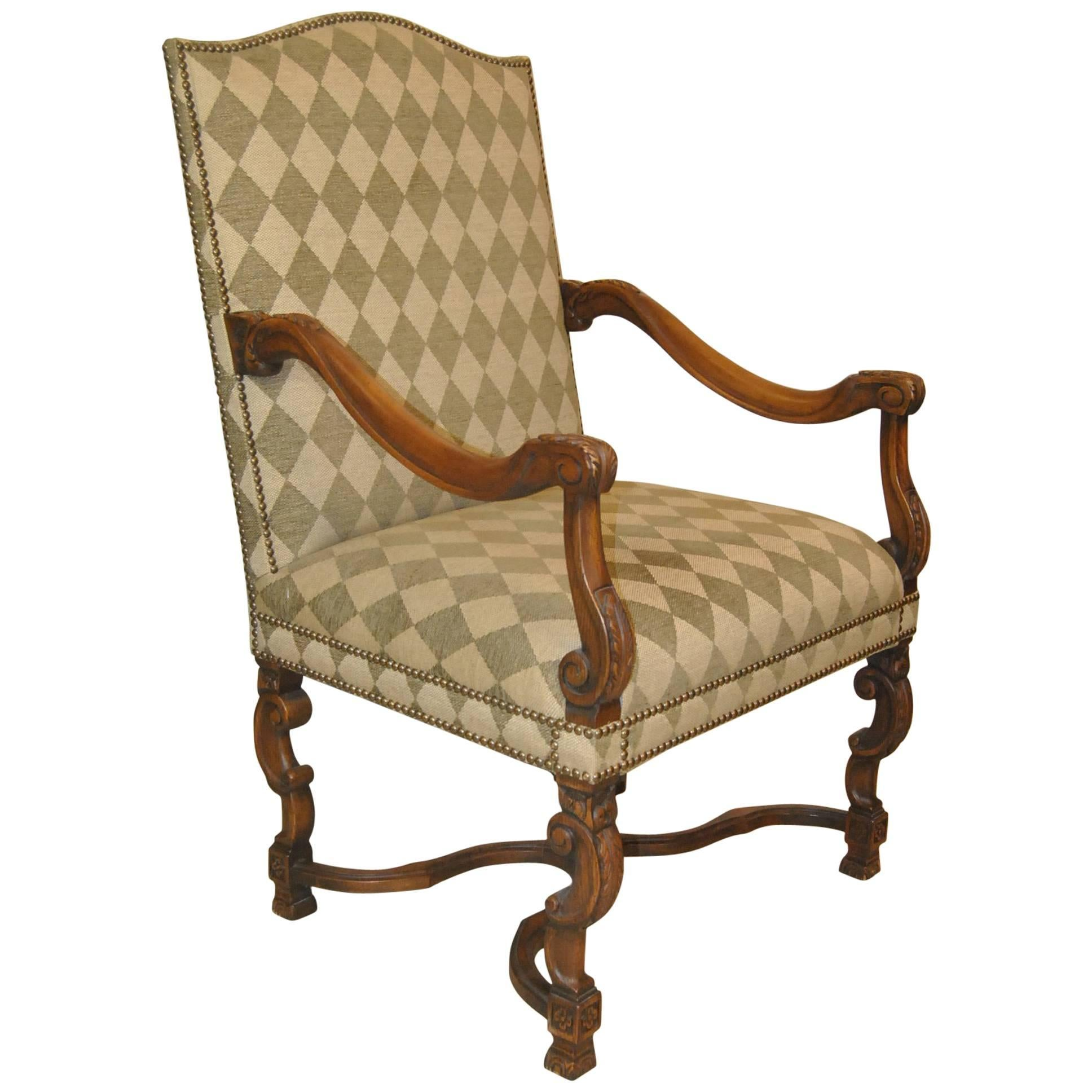 Carved Upholstered Armchair by Sherrill Furniture #1110  sc 1 st  1stDibs & Mahogany Regency Style Spider Back Side Chair by Sherrill Furniture ...