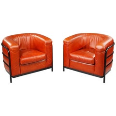 Zanotta Italy, Two Onda Armchairs in Leather