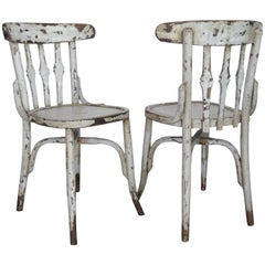 1950s Spanish Wooden Cafe Bistro Chairs with Light Gray Paint