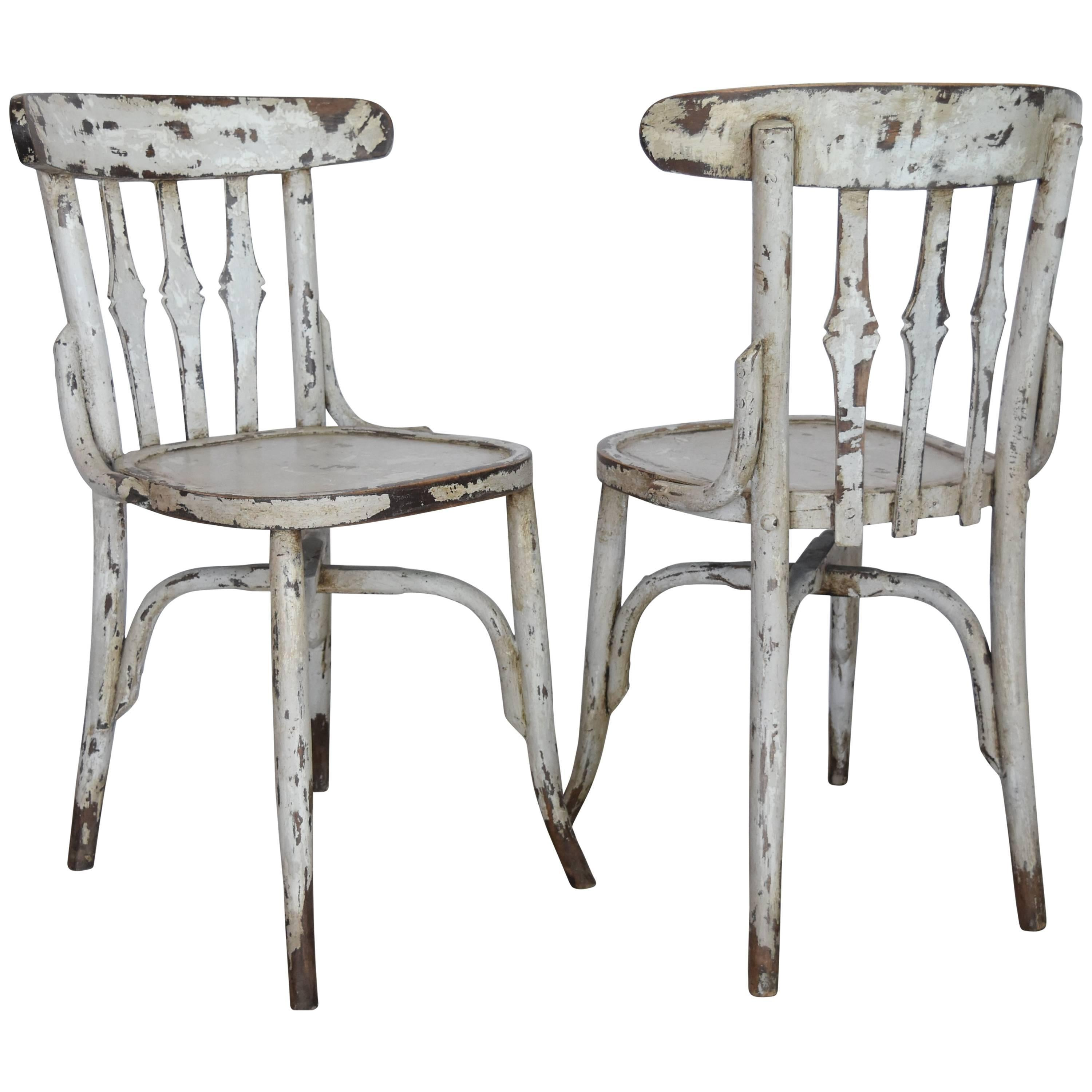 1950s Spanish Wooden Cafe Bistro Chairs With Light Gray Paint For Sale