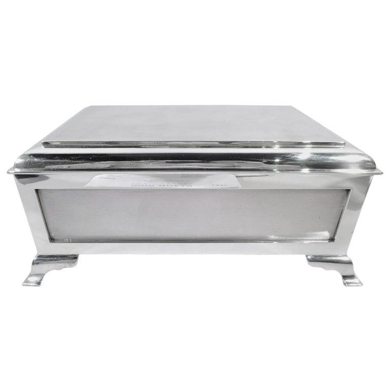 Large English Art Deco Sterling Silver Casket Box