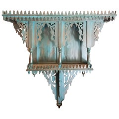 Moroccan Reclaimed Wood Wall Shelf, Turquoise