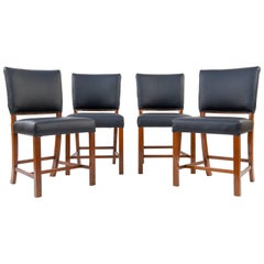 Set of Four Jacob Kjær, Fritz Hansen Mahogany and Leather Side Chairs