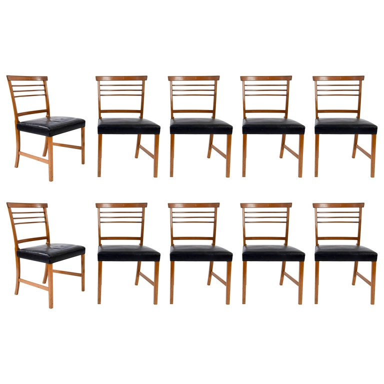 Set of Ten Dining Chairs by Ole Wanscher for AJ Iversen
