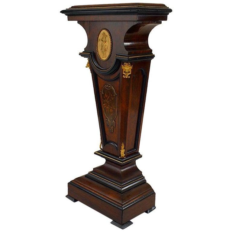 American Victorian Rosewood and Bronze Doré Trimmed Pedestal