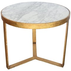 Round Side or Coffee Table Gilt over Iron with Carrara Marble from Spain