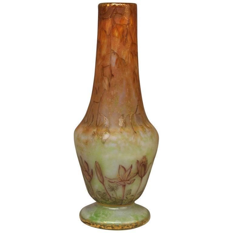 Daum Nancy Glass Shoulder Vase Art Nouveau Autumn Crocusses France Lorraine 1895