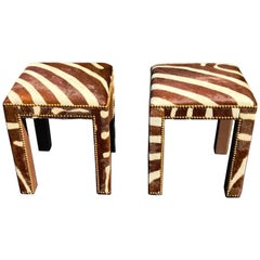 Pair of Zebra Hide Parsons Benches