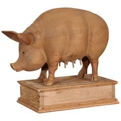 Carved Pine Pig Sculpture
