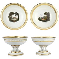 Pair of Large Antique Meissen Porcelain Topographical Footed Bowls or Tazzas