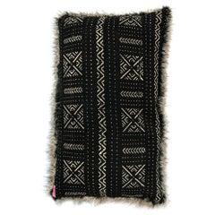 Michelle Nussbaumer Designed Italian Faux Fur Mudcloth Pillow 'Lines & Dots'