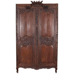 Large Antique French Carved Oak Armoire