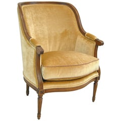 French Upholstered Bergere Chair by Isenhour Furniture