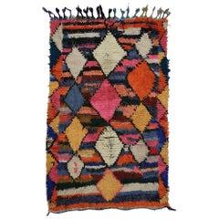 Vintage Berber Moroccan Boucherouite Rug, Shag Accent Rug
