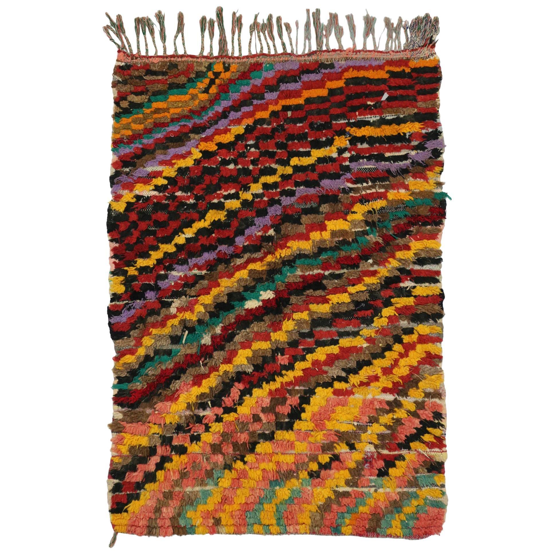 Contemporary Abstract Vintage Moroccan Boucherouite Rug, Moroccan Shag Rug
