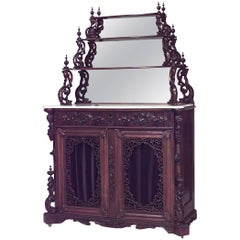 American Victorian Rosewood Sideboard Cabinet