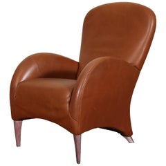 Vintage Molinari Tan Leather Armchair