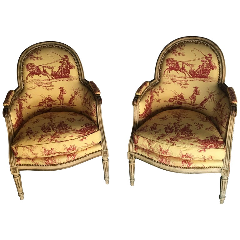 Pair of Cream-Painted Louis XVI Style Bergeres
