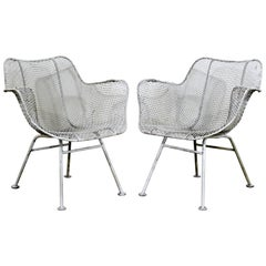 Mid-Century Modern Russell Woodard Sculptura Pair of Outdoor Patio Armchairs
