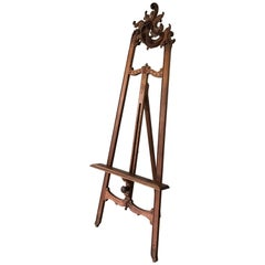 Graceful Antique and All Handcrafted Walnut Floor Easel or Artist Display Stand