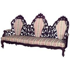 American Victorian Rosewood Triple Filigree and Upholstered Back Settee