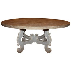 Round Italian Trestle Dining Table with Painted Base and Natural Wood Top