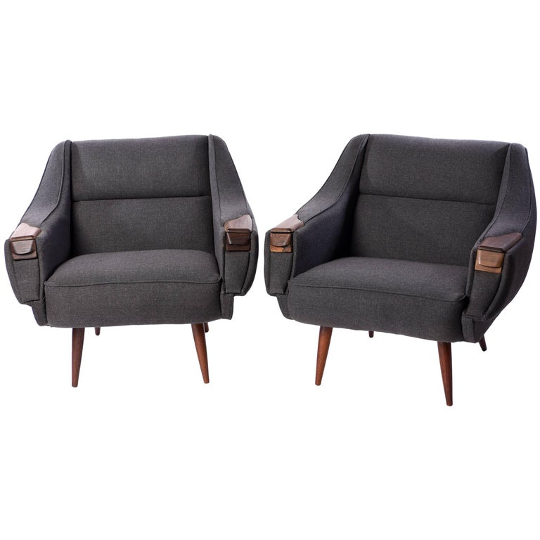 Pair of Rosewood Lounge Chairs by H.W. Klein, 1960s
