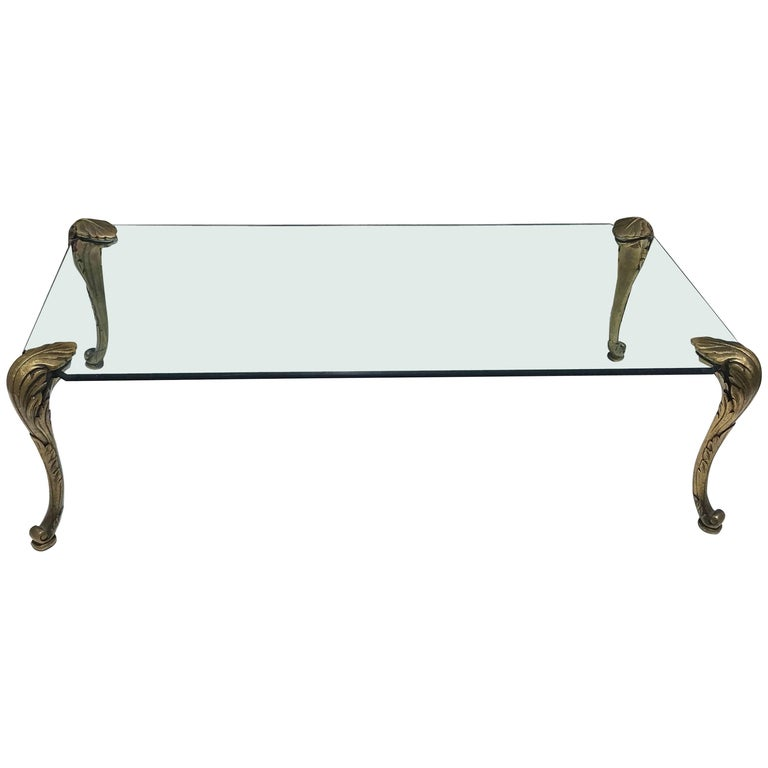 Monumental French Maison Charles Bronze and Glass, Coffee Table, circa 1950s