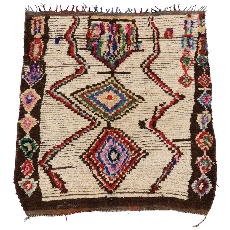 Vintage Berber Moroccan Boucherouite Rug, Square Rug with Tribal Style
