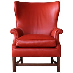 1940s Wingback Leather Armchair