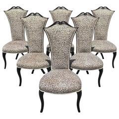 Elegant Set of Six French Mid-Century Modern Ebonized Tall Back Dining Chairs