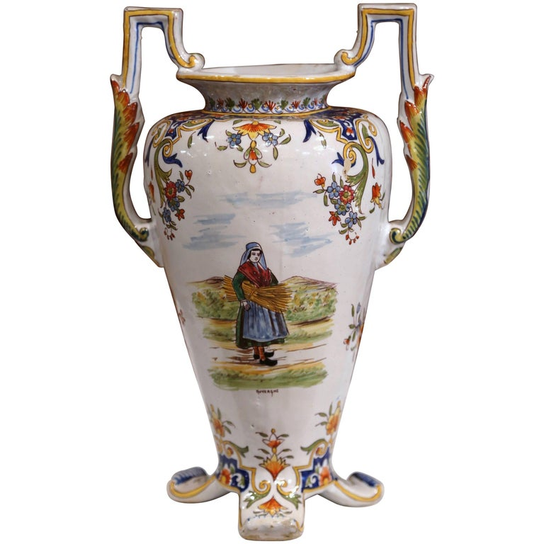 19th Century French Hand Painted Ceramic Vase With Handles From
