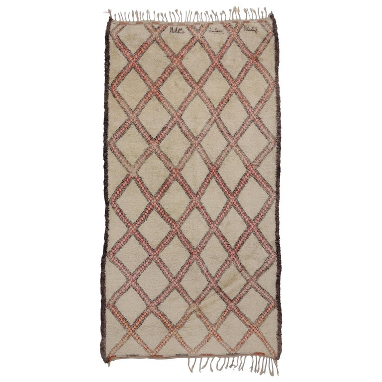 Vintage Beni Ourain Moroccan Rug with Mid-Century Modern Style