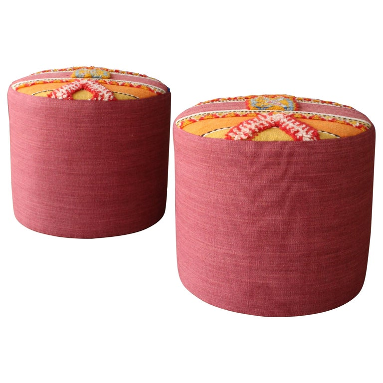 Pair of Stools with Vintage Moroccan Upholstery