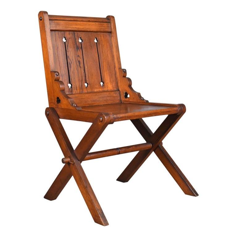 Antique Glastonbury Chair, English, Tudor Revival, Hall Seat, circa 1880 For Sale