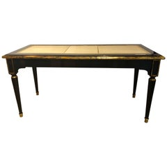 Ebonized Jansen Style Coffee Table with a Greek Key Design and Leather Top