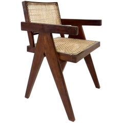 Teak Office Cane Chair Armchair by Pierre Jeanneret from Chandigarh