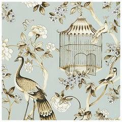 Schumacher Oiseaux Et Fleurs Chinoiserie Mineral Blue Wallpaper, Two Roll Set