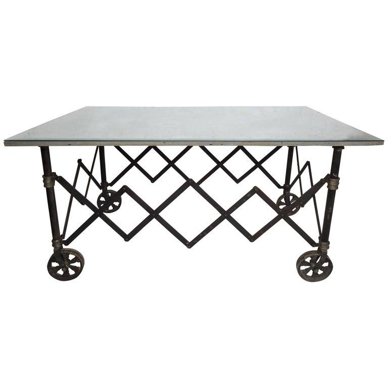Vintage Industrial Accordion Table