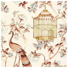 Schumacher Oiseaux Et Fleurs Chinoiserie Cinnabar Red Wallpaper, Two Roll Set