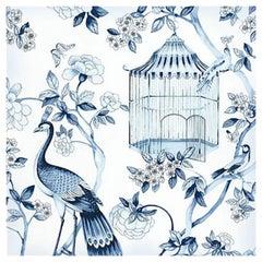 Schumacher Oiseaux Et Fleurs Chinoiserie Porcelain Blue Wallpaper, Two Roll Set