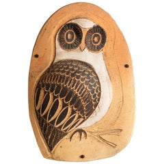 Vintage 1960s Clay and Wood Owl Wall Art by Verner