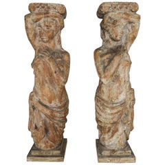 Pair of Spanish Carved Wood Figural Pedestals