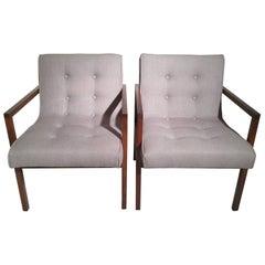 Pair of Midcentury Walnut Armchairs