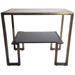 Midcentury James Mont Style Two-Tier Marble and Brass Table
