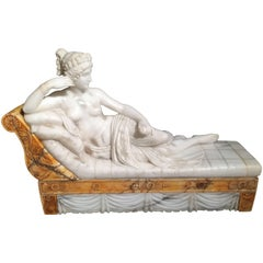 19th Century Italian Carved Marble Sculpture of Paolina Borghese 'Canova'
