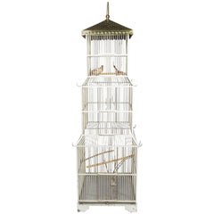Exceptional Victorian Tall White Painted Metal Pagoda Form Birdcage