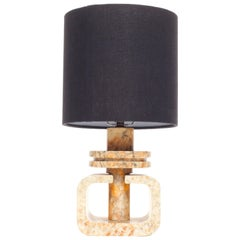 Vintage Marble Geometric Italian Table Lamp with Custom Black Linen Shade